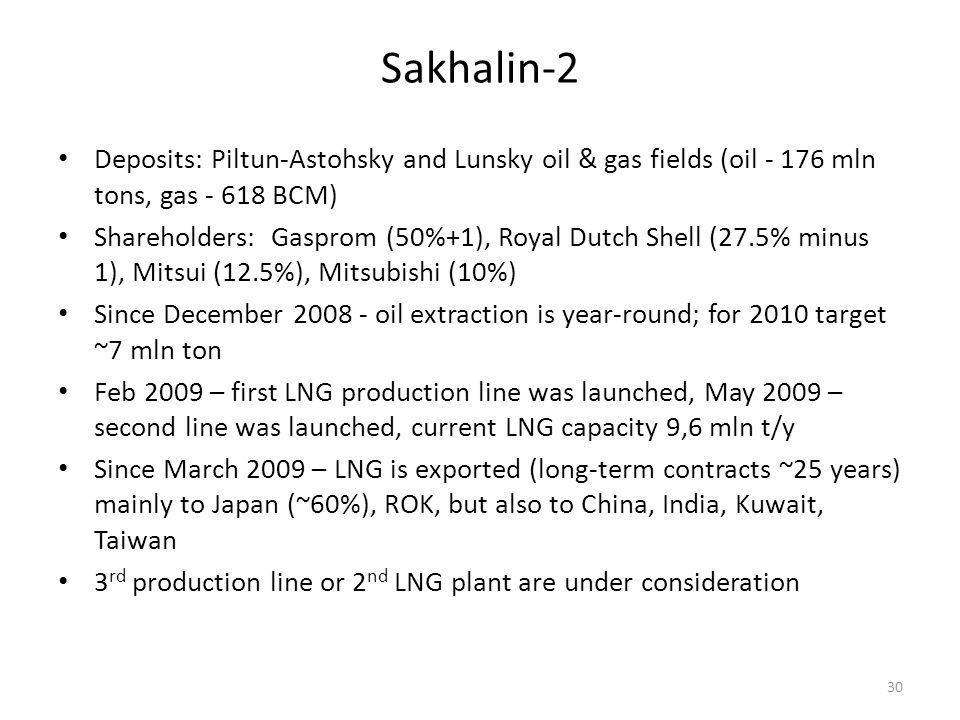 Sakhalin-2 30 Deposits: Piltun-Astohsky and Lunsky oil & gas fields (oil - 176 mln tons, gas - 618 BCM) Shareholders: Gasprom (50%+1), Royal Dutch She