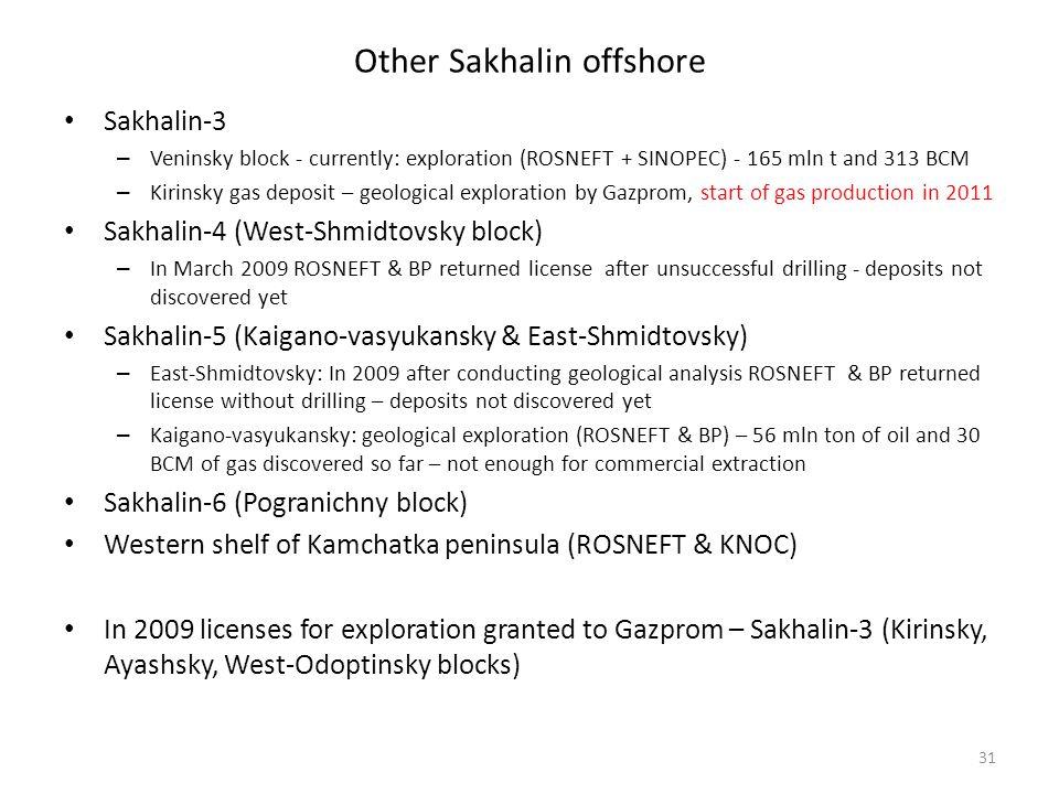 Other Sakhalin offshore Sakhalin-3 – Veninsky block - currently: exploration (ROSNEFT + SINOPEC) - 165 mln t and 313 BCM – Kirinsky gas deposit – geol