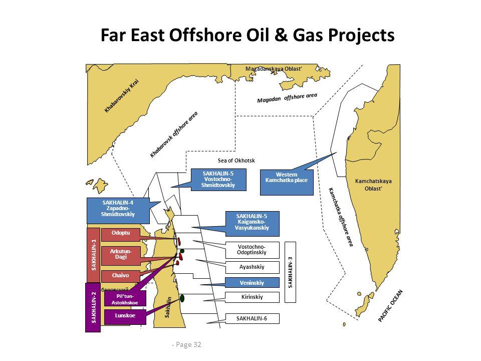 Far East Offshore Oil & Gas Projects Sea of Okhotsk Kamchatka offshore area Kamchatskaya Oblast' Magadanskaya Oblast' SAKHALIN-6 SAKHALIN-5 Kaigansko-