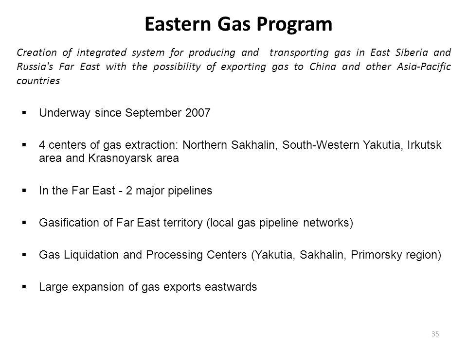 Eastern Gas Program  Underway since September 2007  4 centers of gas extraction: Northern Sakhalin, South-Western Yakutia, Irkutsk area and Krasnoya