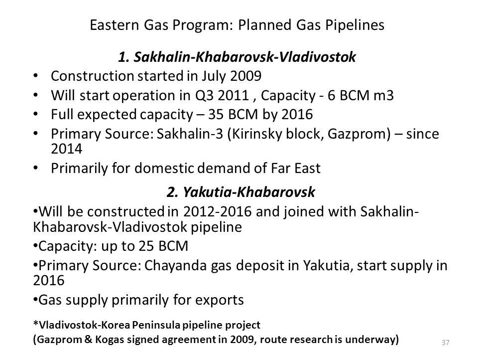 1. Sakhalin-Khabarovsk-Vladivostok Construction started in July 2009 Will start operation in Q3 2011, Capacity - 6 BCM m3 Full expected capacity – 35