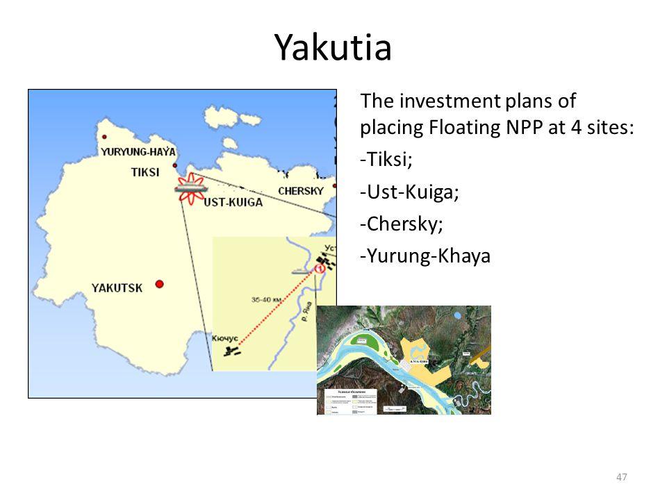 Yakutia The investment plans of placing Floating NPP at 4 sites: -Tiksi; -Ust-Kuiga; -Chersky; -Yurung-Khaya 47