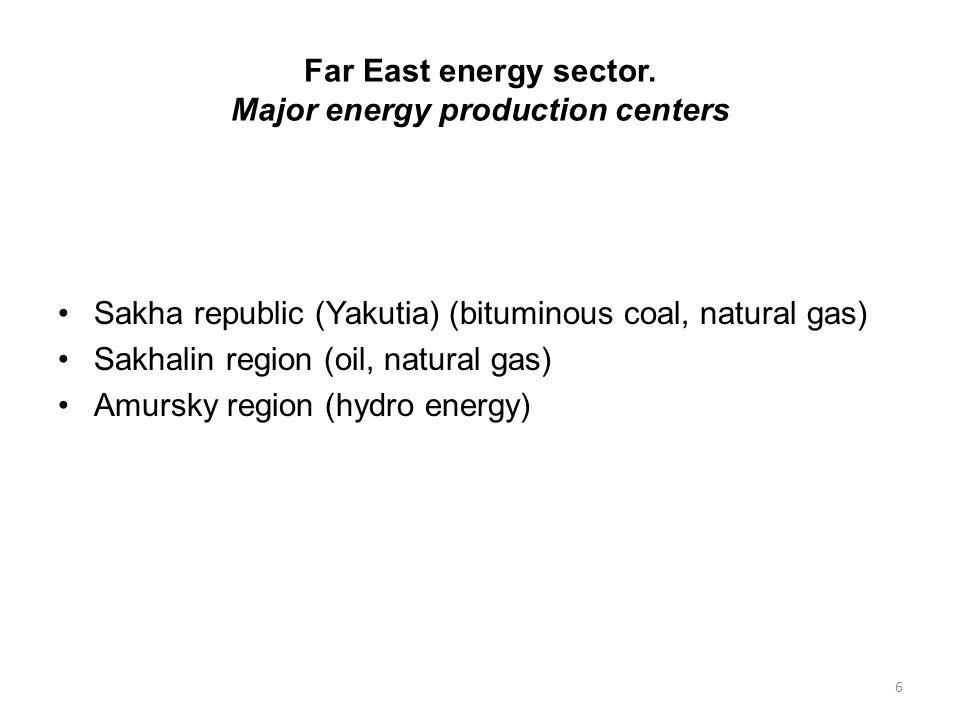 Far East energy sector. Major energy production centers Sakha republic (Yakutia) (bituminous coal, natural gas) Sakhalin region (oil, natural gas) Amu