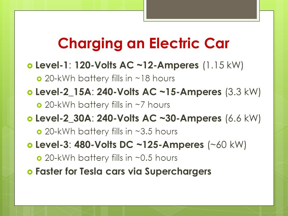Charging an Electric Car  Level-1 : 120-Volts AC ~12-Amperes (1.15 kW)  20-kWh battery fills in ~18 hours  Level-2_15A : 240-Volts AC ~15-Amperes (3.3 kW)  20-kWh battery fills in ~7 hours  Level-2_30A : 240-Volts AC ~30-Amperes (6.6 kW)  20-kWh battery fills in ~3.5 hours  Level-3 : 480-Volts DC ~125-Amperes (~60 kW)  20-kWh battery fills in ~0.5 hours  Faster for Tesla cars via Superchargers