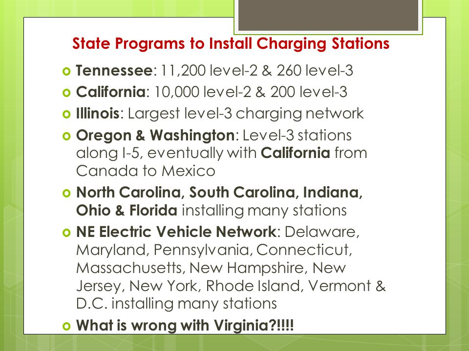State Programs to Install Charging Stations  Tennessee : 11,200 level-2 & 260 level-3  California : 10,000 level-2 & 200 level-3  Illinois : Largest level-3 charging network  Oregon & Washington : Level-3 stations along I-5, eventually with California from Canada to Mexico  North Carolina, South Carolina, Indiana, Ohio & Florida installing many stations  NE Electric Vehicle Network : Delaware, Maryland, Pennsylvania, Connecticut, Massachusetts, New Hampshire, New Jersey, New York, Rhode Island, Vermont & D.C.