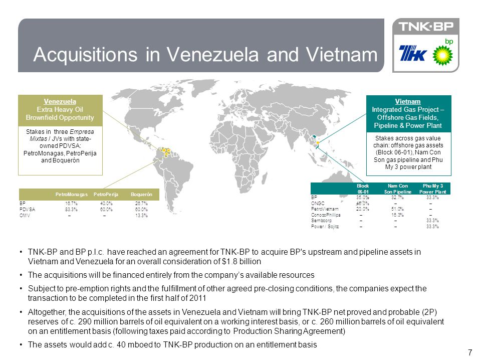 7 Acquisitions in Venezuela and Vietnam Venezuela Extra Heavy Oil Brownfield Opportunity Stakes in three Empresa Mixtas / JVs with state- owned PDVSA: