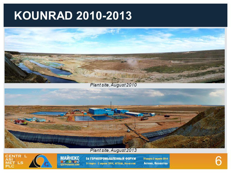6 KOUNRAD 2010-2013 Plant site, August 2010 Plant site, August 2013