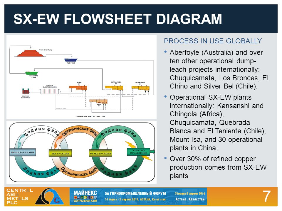 7 SX-EW FLOWSHEET DIAGRAM PROCESS IN USE GLOBALLY Aberfoyle (Australia) and over ten other operational dump- leach projects internationally: Chuquicamata, Los Bronces, El Chino and Silver Bel (Chile).