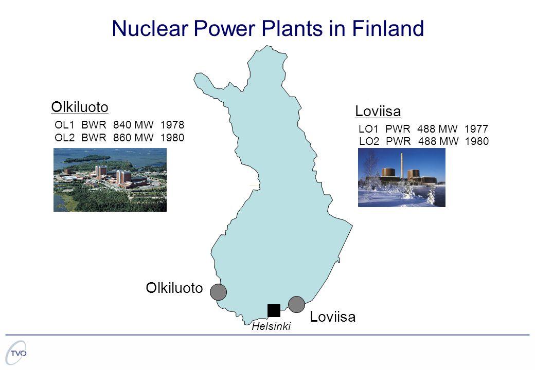 Loviisa LO1 PWR 488 MW 1977 LO2 PWR 488 MW1980 OL1 BWR 840 MW1978 OL2 BWR 860 MW1980 Olkiluoto Loviisa Helsinki Nuclear Power Plants in Finland Olkiluoto