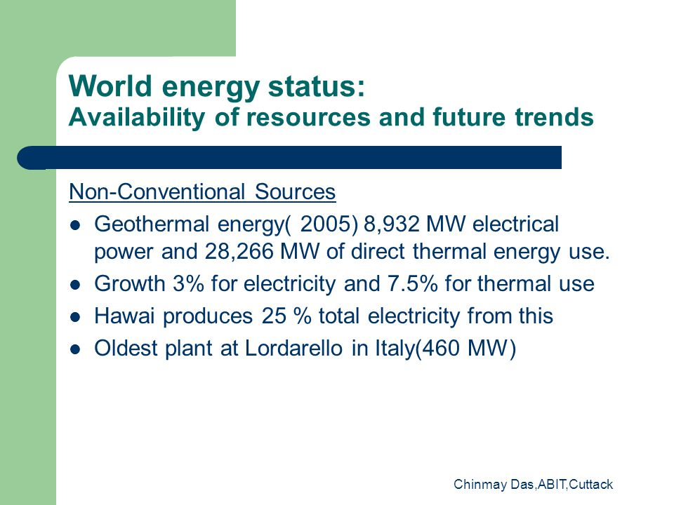World energy status: Availability of resources and future trends Non-Conventional Sources Geothermal energy( 2005) 8,932 MW electrical power and 28,266 MW of direct thermal energy use.