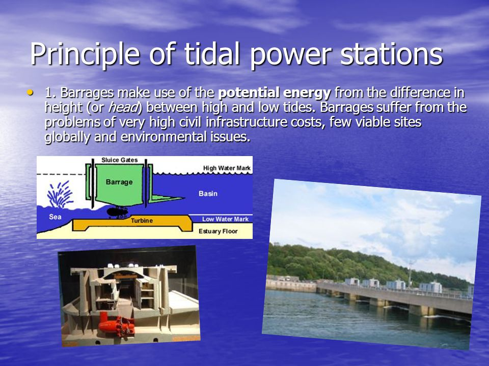 Principle of tidal power stations 1.