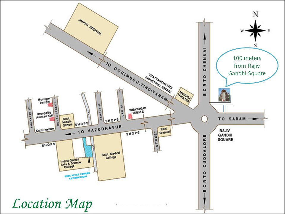 Location Map 100 meters from Rajiv Gandhi Square