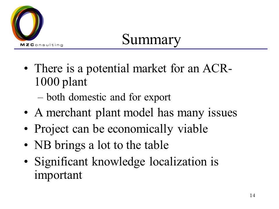 14 Summary There is a potential market for an ACR- 1000 plant –both domestic and for export A merchant plant model has many issues Project can be economically viable NB brings a lot to the table Significant knowledge localization is important