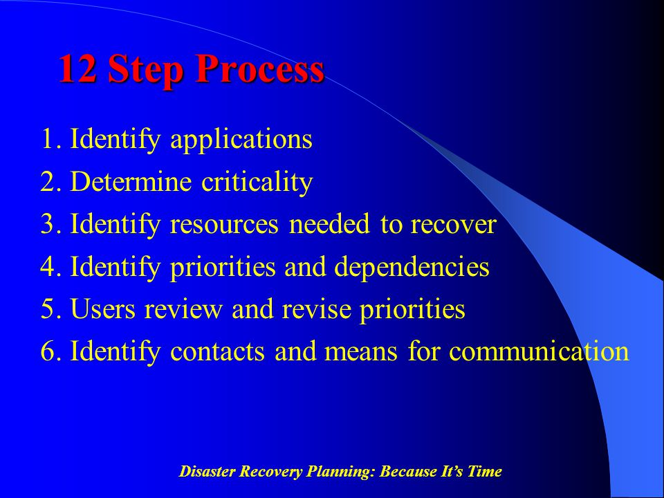 Disaster Recovery Planning: Because It's Time 12 Step Process 1. Identify applications 2. Determine criticality 3. Identify resources needed to recove