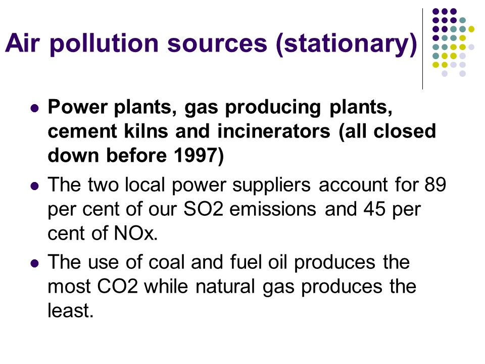Air pollution sources (stationary) Power plants, gas producing plants, cement kilns and incinerators (all closed down before 1997) The two local power suppliers account for 89 per cent of our SO2 emissions and 45 per cent of NOx.