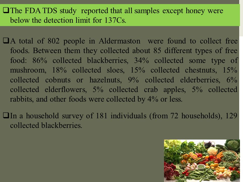  The FDA TDS study reported that all samples except honey were below the detection limit for 137Cs.  A total of 802 people in Aldermaston were found