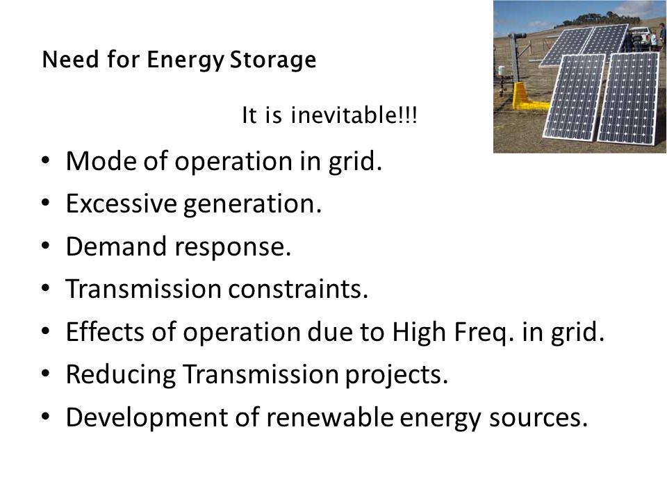 Need for Energy Storage It is inevitable!!. Mode of operation in grid.