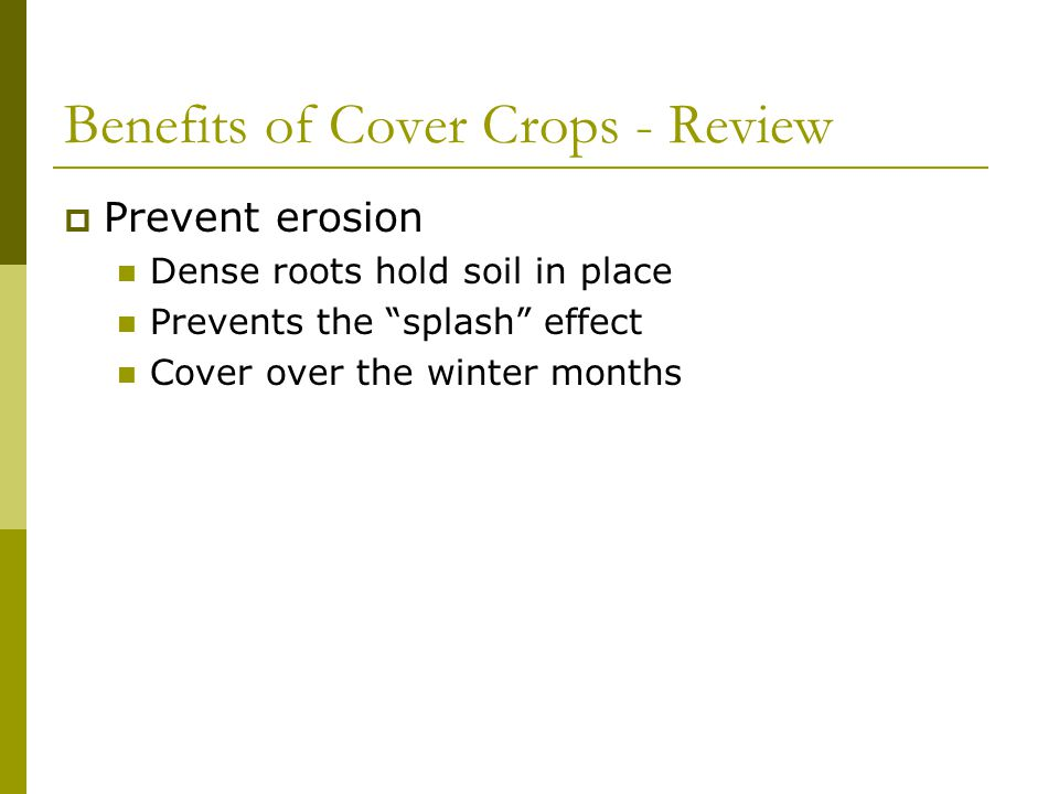 Benefits of Cover Crops - Review  Conserve soil moisture Residue increases infiltration  Surface and root zone Reduce evaporation from bare soil Must avoid killing too late  Problem with mechanical control systems