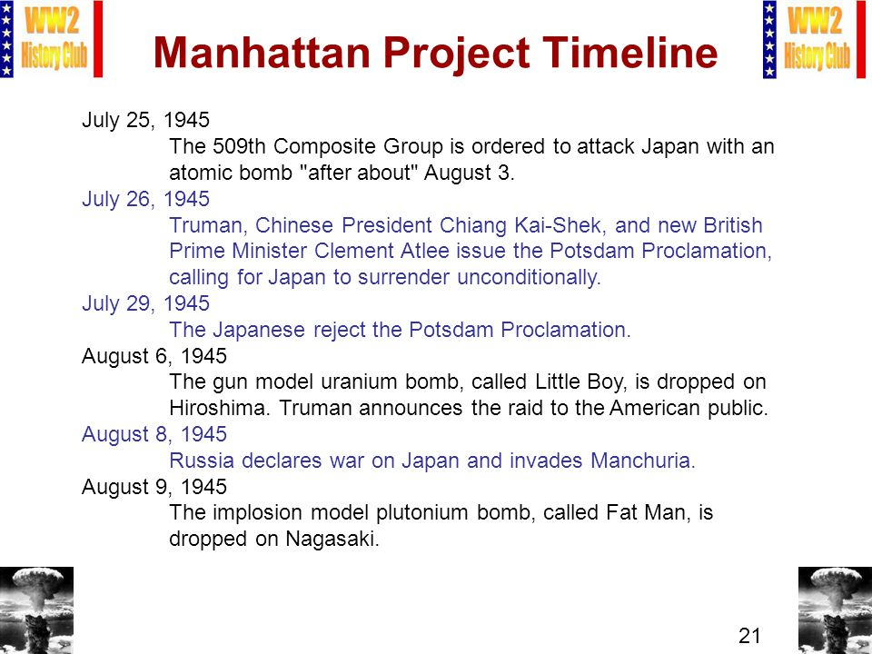 21 Manhattan Project Timeline July 25, 1945 The 509th Composite Group is ordered to attack Japan with an atomic bomb after about August 3.