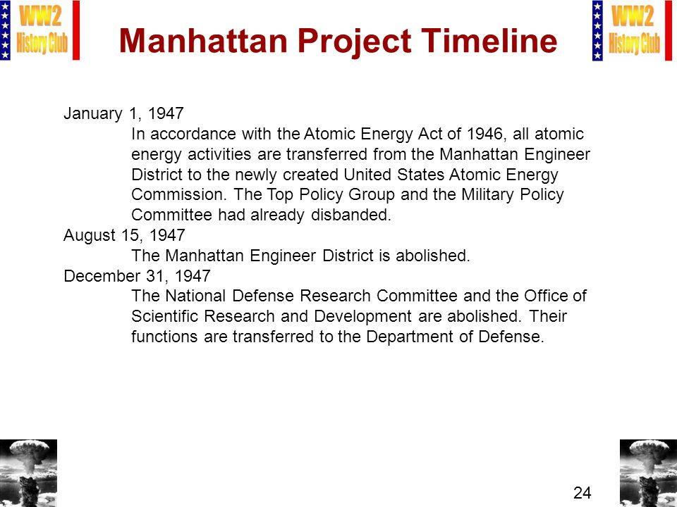 24 Manhattan Project Timeline January 1, 1947 In accordance with the Atomic Energy Act of 1946, all atomic energy activities are transferred from the Manhattan Engineer District to the newly created United States Atomic Energy Commission.