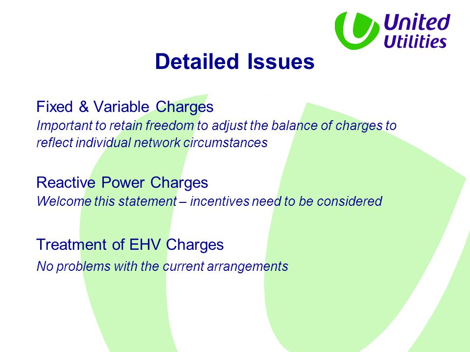 Detailed Issues Fixed & Variable Charges Important to retain freedom to adjust the balance of charges to reflect individual network circumstances Reac