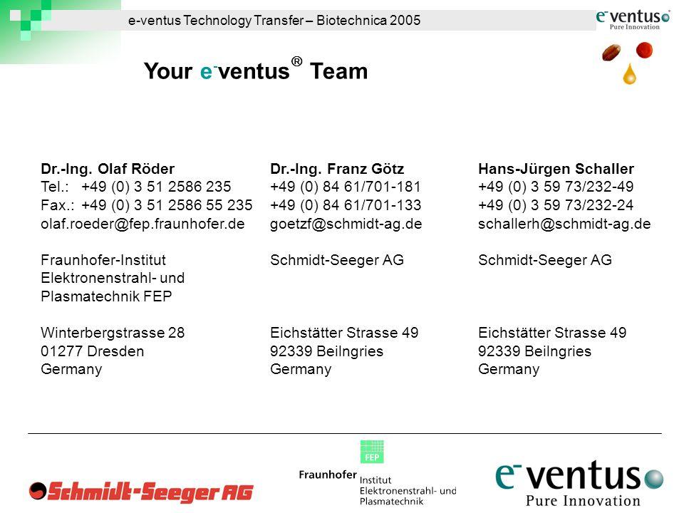 e-ventus Technology Transfer – Biotechnica 2005 Dr.-Ing.