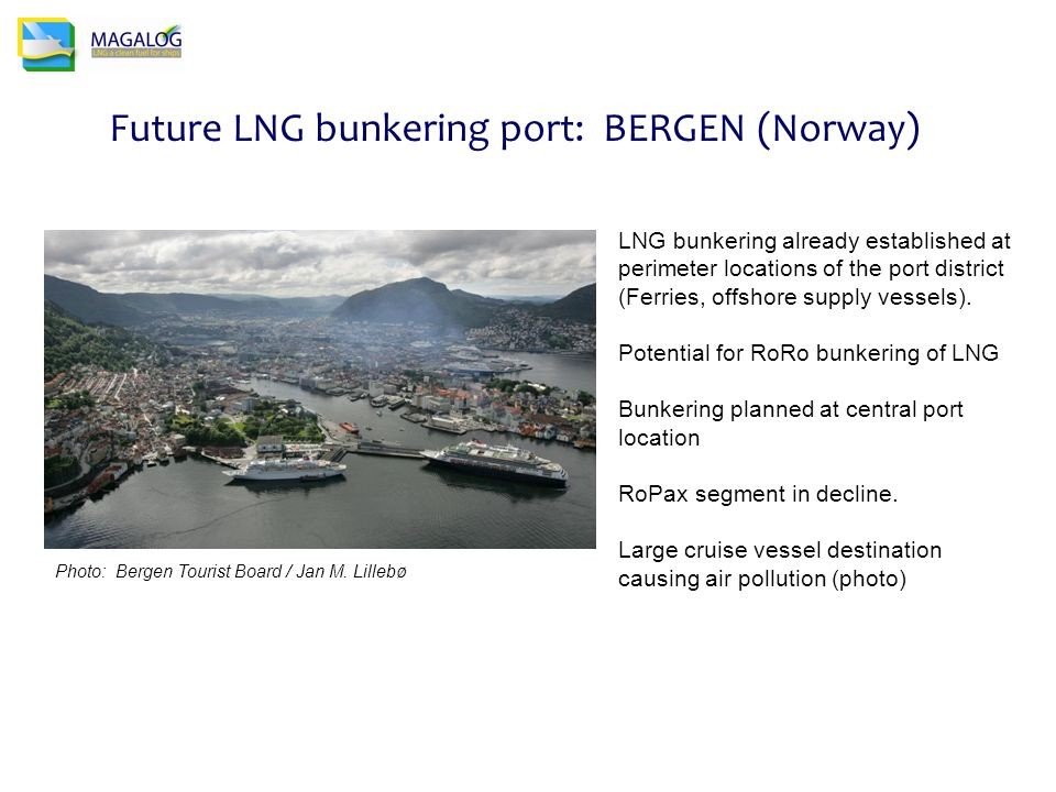 Future LNG bunkering port: BERGEN (Norway) LNG bunkering already established at perimeter locations of the port district (Ferries, offshore supply vessels).