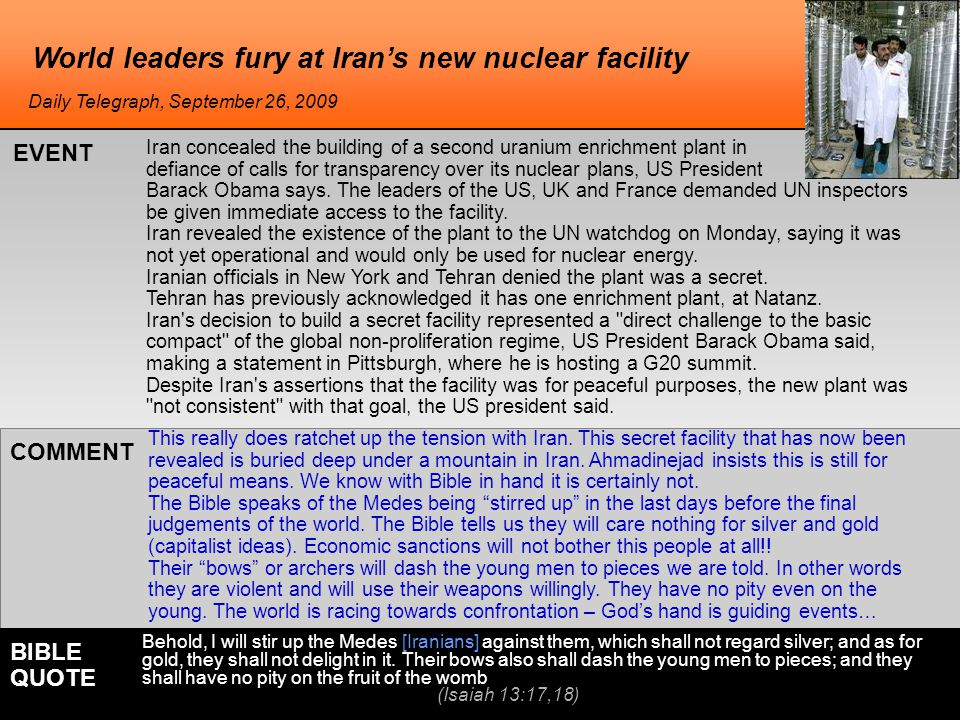 World leaders fury at Iran's new nuclear facility This really does ratchet up the tension with Iran.
