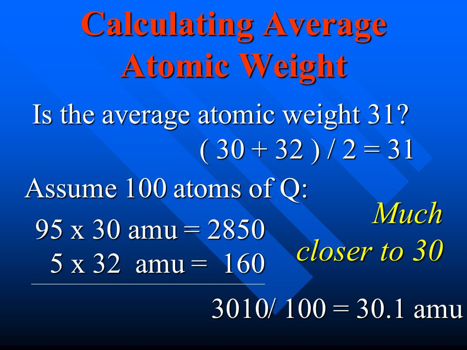 Calculating Average Atomic Weight Is the average atomic weight 31? ( 30 + 32 ) / 2 = 31 Assume 100 atoms of Q: 95 x 30 amu = 2850 5 x 32 amu = 160 5 x