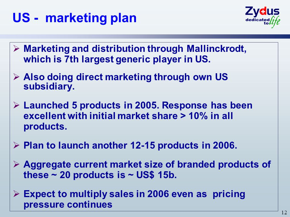 12 US - marketing plan  Marketing and distribution through Mallinckrodt, which is 7th largest generic player in US.  Also doing direct marketing thr