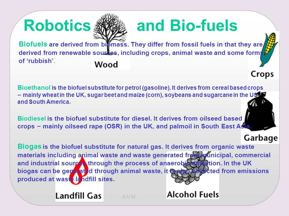 Biofuels are derived from biomass.