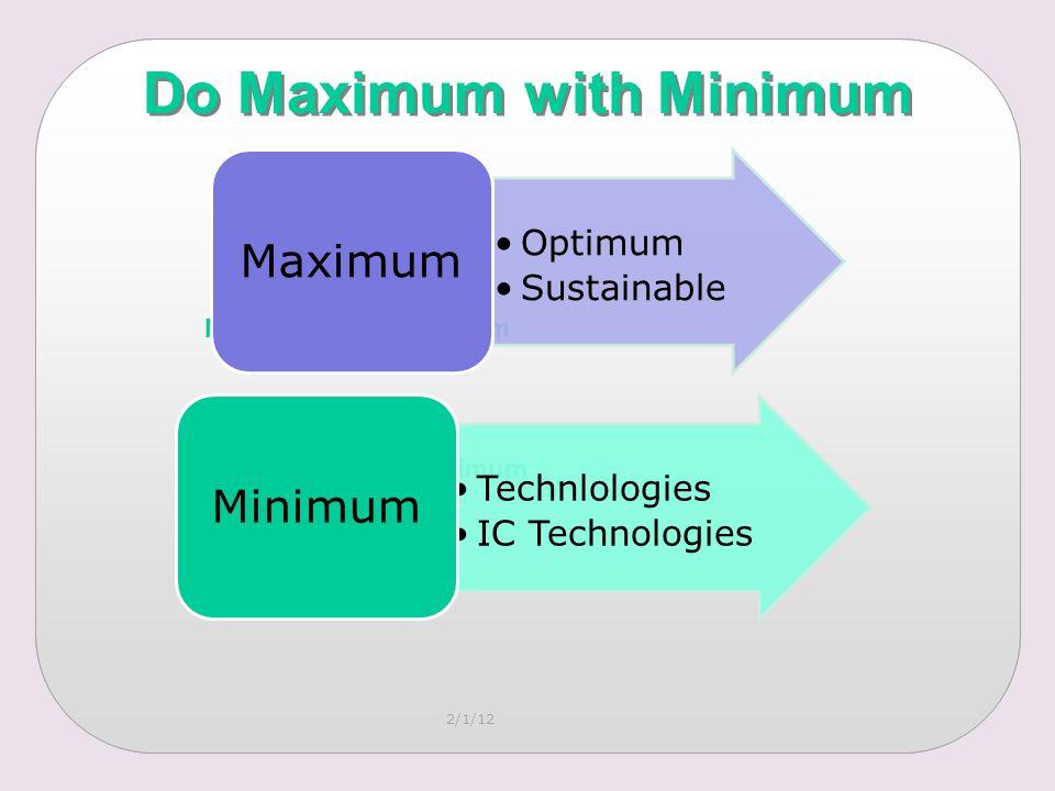 2/1/12 Do Maximum with Minimum Maximum with Minimum Optimum Sustainable Maximum Technlologies IC Technologies Minimum