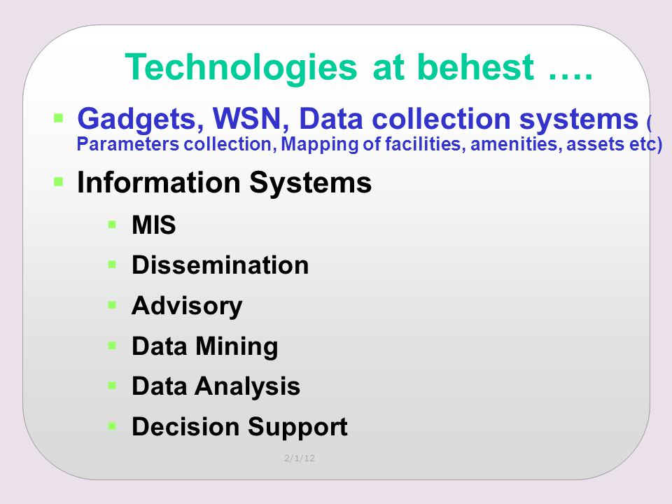 2/1/12 Technologies at behest ….