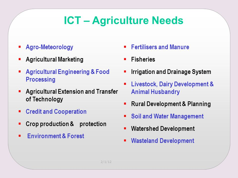2/1/12  Agro-Meteorology  Agricultural Marketing  Agricultural Engineering & Food Processing  Agricultural Extension and Transfer of Technology  Credit and Cooperation  Crop production & protection  Environment & Forest  Fertilisers and Manure  Fisheries  Irrigation and Drainage System  Livestock, Dairy Development & Animal Husbandry  Rural Development & Planning  Soil and Water Management  Watershed Development  Wasteland Development ICT – Agriculture Needs