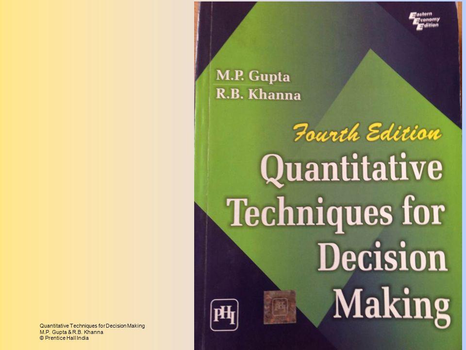 Quantitative Techniques for Decision Making M.P. Gupta & R.B. Khanna © Prentice Hall India
