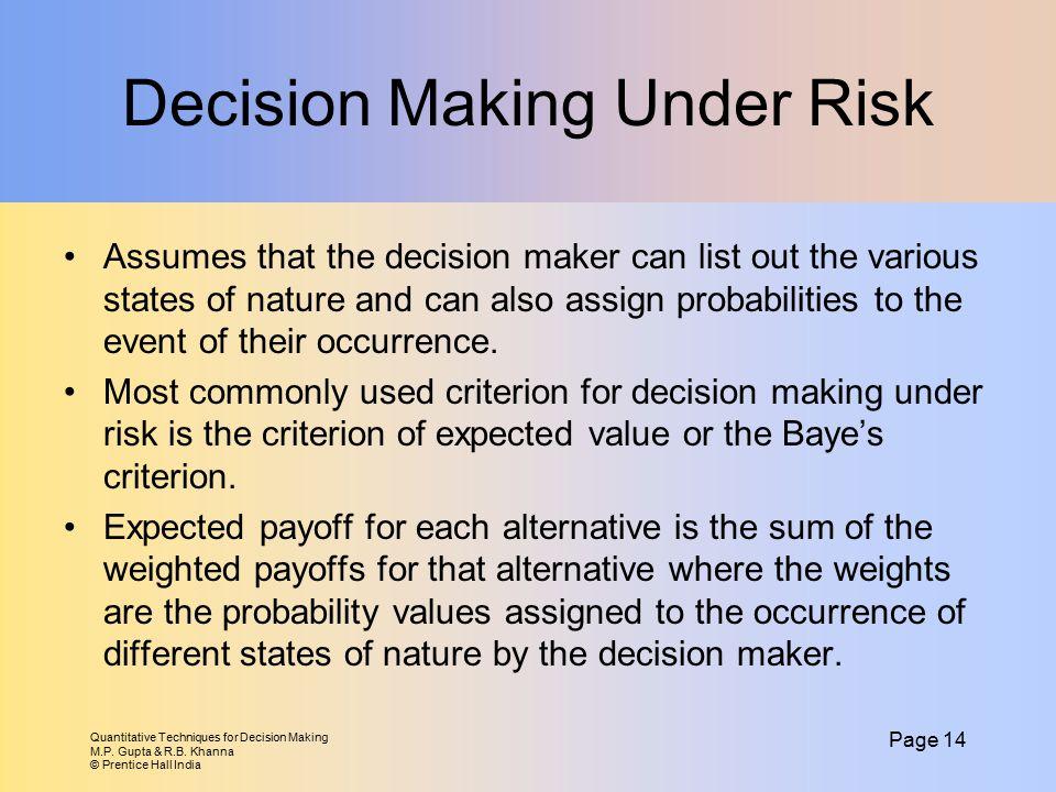 Quantitative Techniques for Decision Making M.P. Gupta & R.B. Khanna © Prentice Hall India Page 14 Decision Making Under Risk Assumes that the decisio