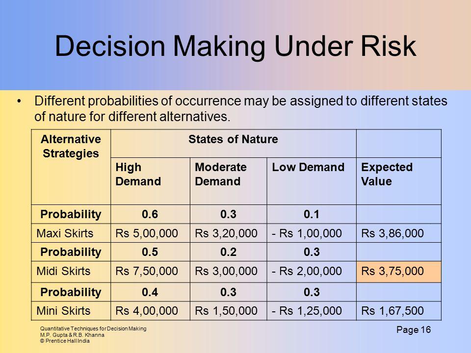 Quantitative Techniques for Decision Making M.P. Gupta & R.B. Khanna © Prentice Hall India Page 16 Decision Making Under Risk Different probabilities
