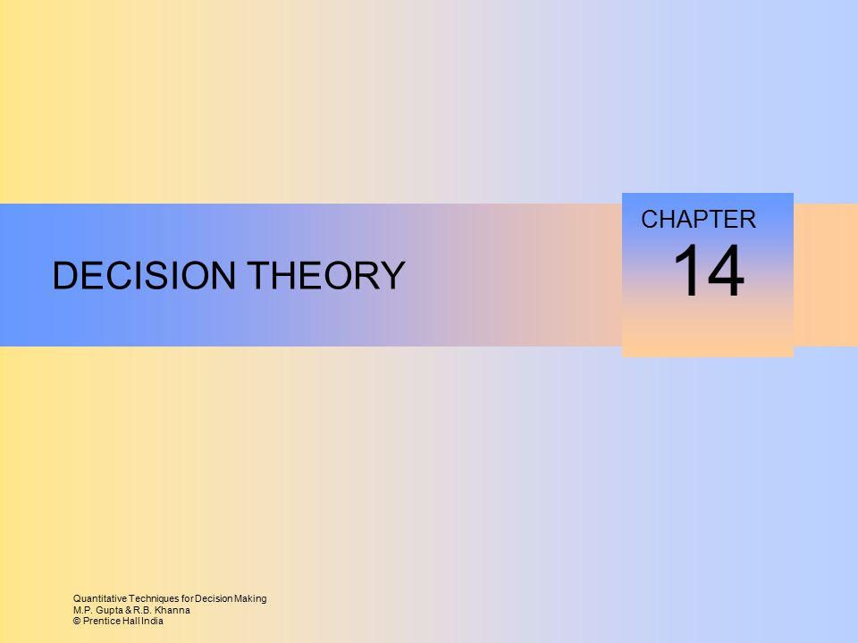 Quantitative Techniques for Decision Making M.P. Gupta & R.B. Khanna © Prentice Hall India DECISION THEORY 14 CHAPTER