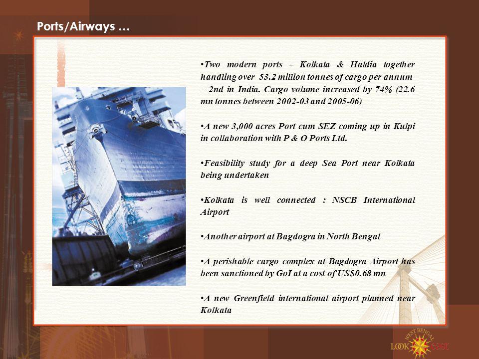 Ports/Airways … Two modern ports – Kolkata & Haldia together handling over 53.2 million tonnes of cargo per annum – 2nd in India.