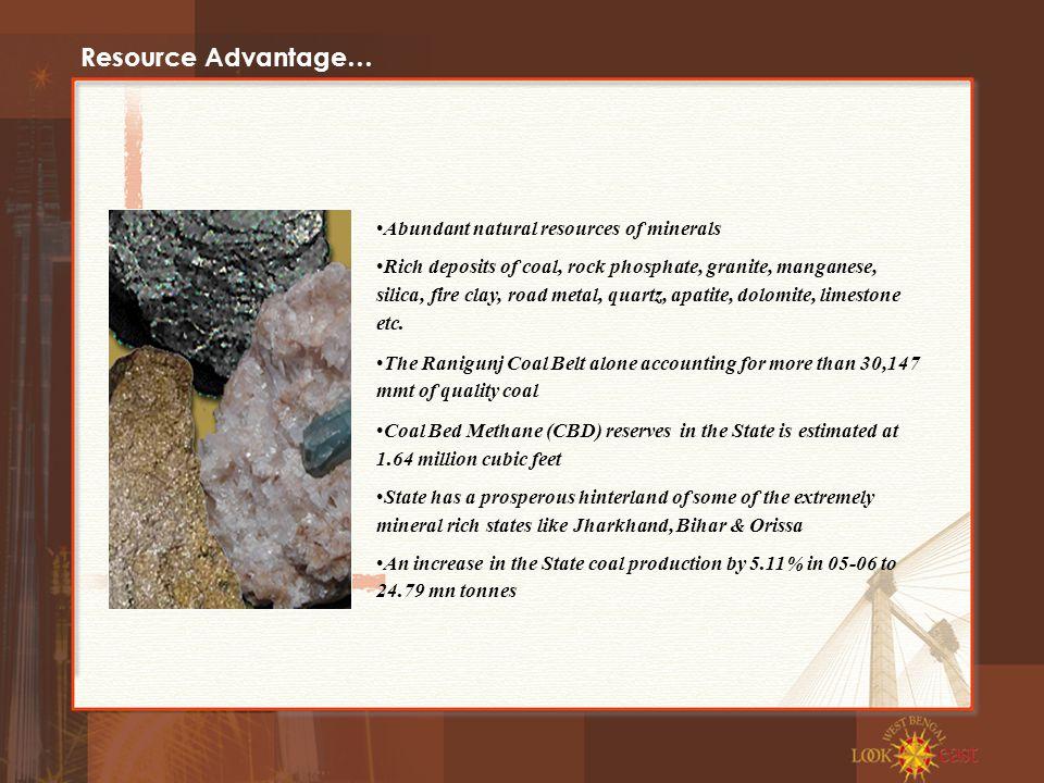 Resource Advantage… Abundant natural resources of minerals Rich deposits of coal, rock phosphate, granite, manganese, silica, fire clay, road metal, quartz, apatite, dolomite, limestone etc.