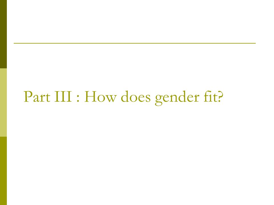 Part III : How does gender fit?