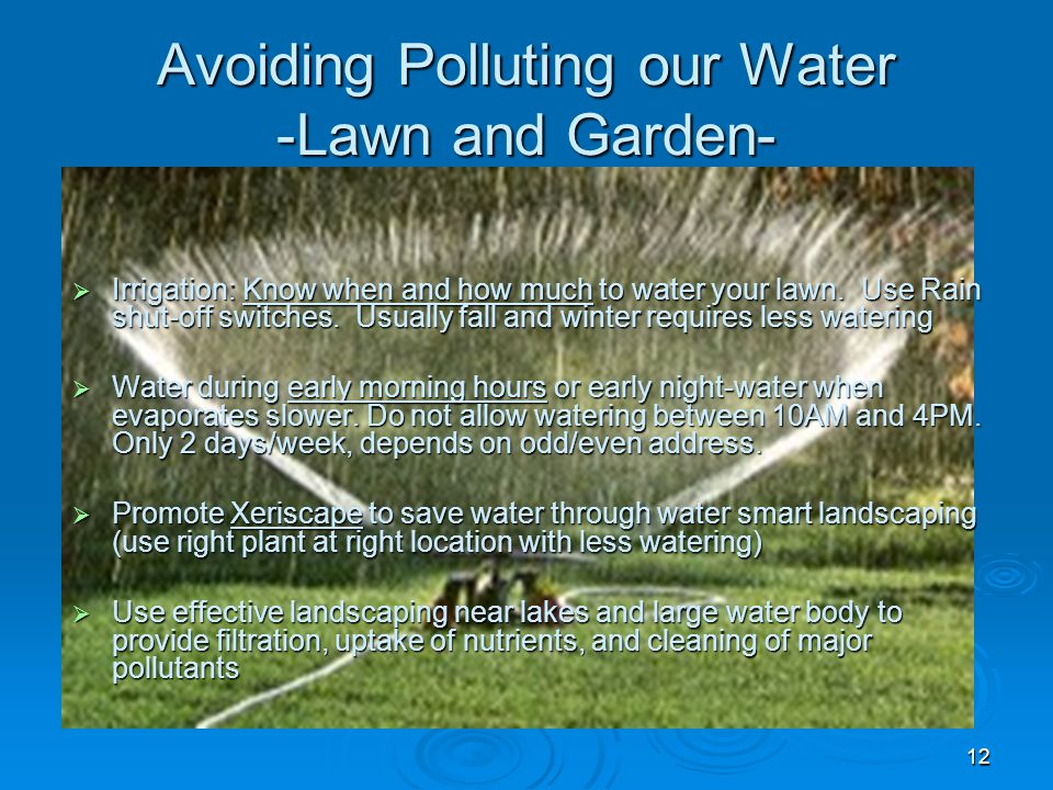 12 Avoiding Polluting our Water -Lawn and Garden-  Irrigation: Know when and how much to water your lawn.