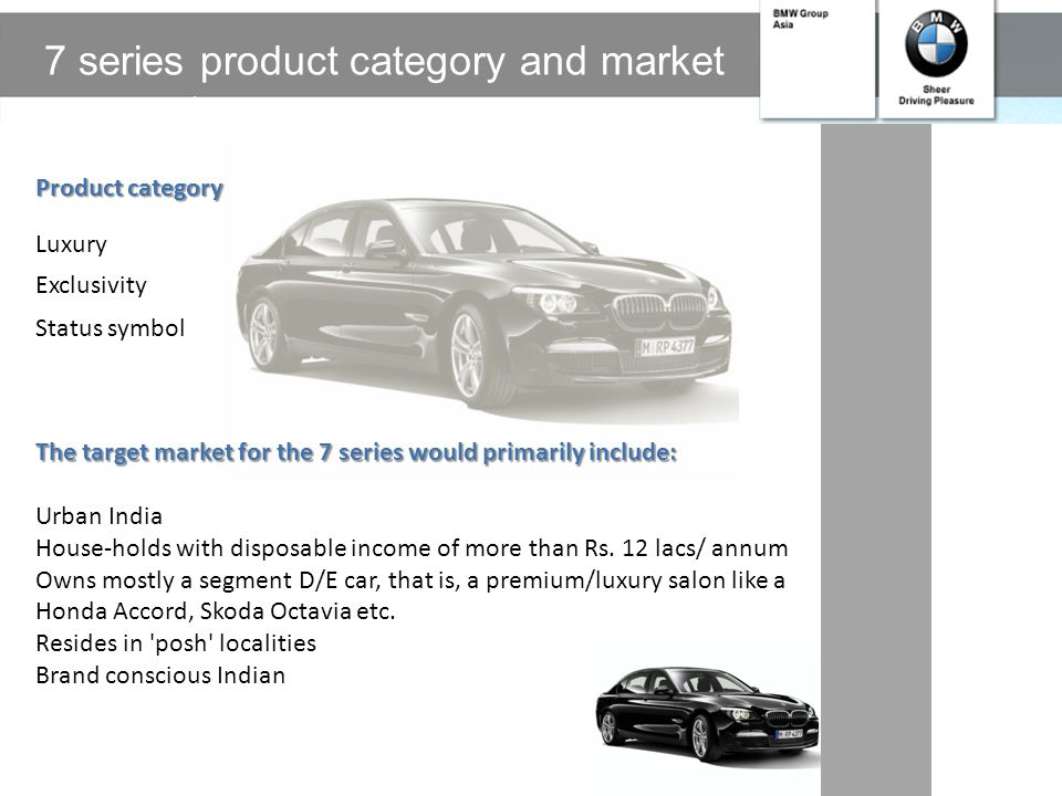 BMW in India BMW opened its 1 st assembly plant at Chennai in India in March 2007 BMW has the following products in its Indian stable: 3 Series 5 seri