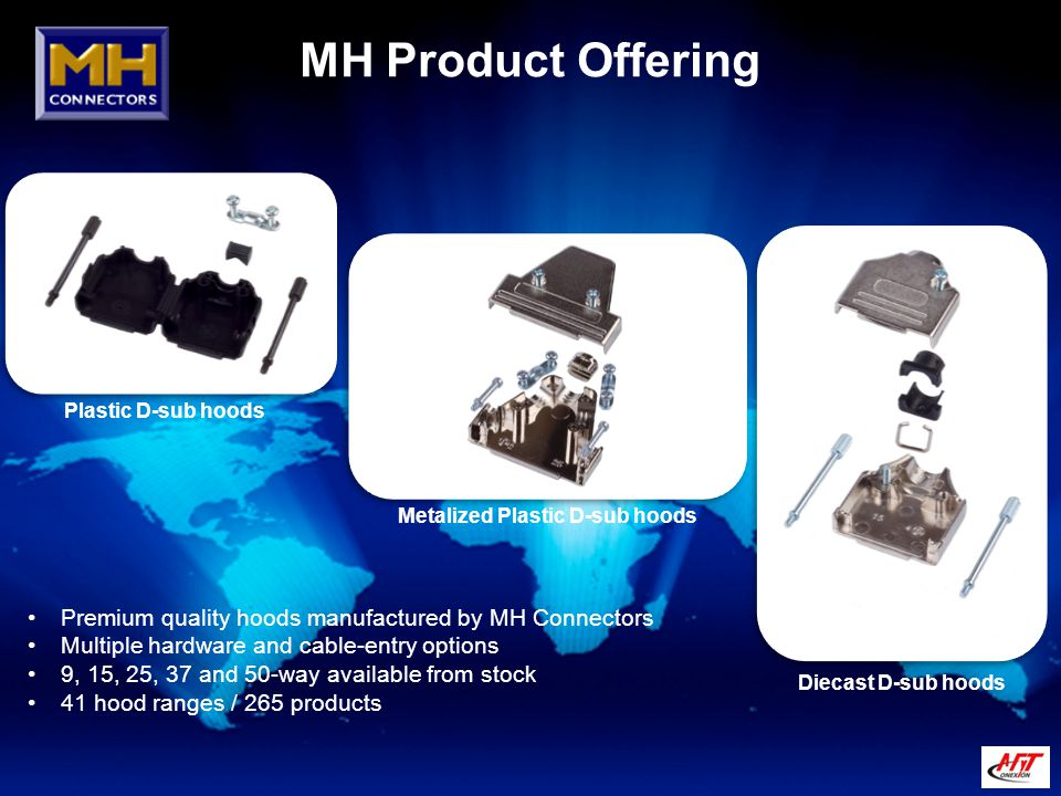 MH Product Offering Plastic D-sub hoods Metalized Plastic D-sub hoods Premium quality hoods manufactured by MH Connectors Multiple hardware and cable-