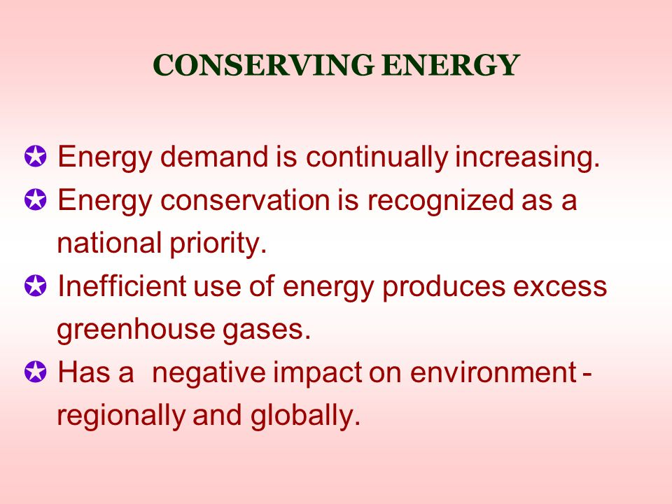 CONSERVING ENERGY ✪ Energy demand is continually increasing.