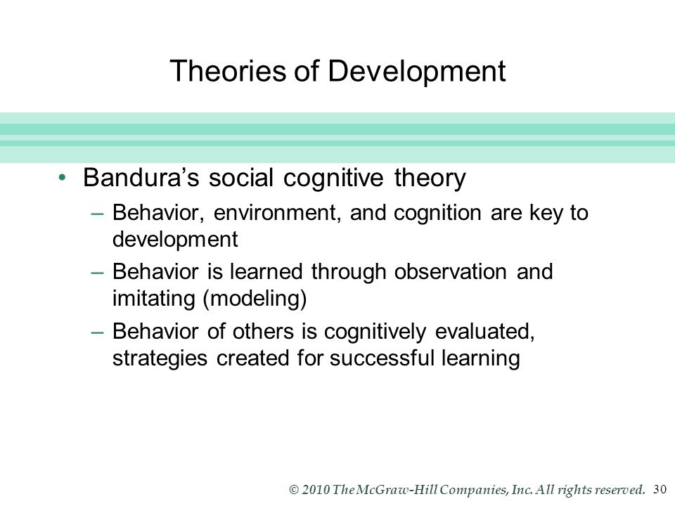 Slide 30 © 2010 The McGraw-Hill Companies, Inc. All rights reserved. 30 Theories of Development Bandura's social cognitive theory –Behavior, environme