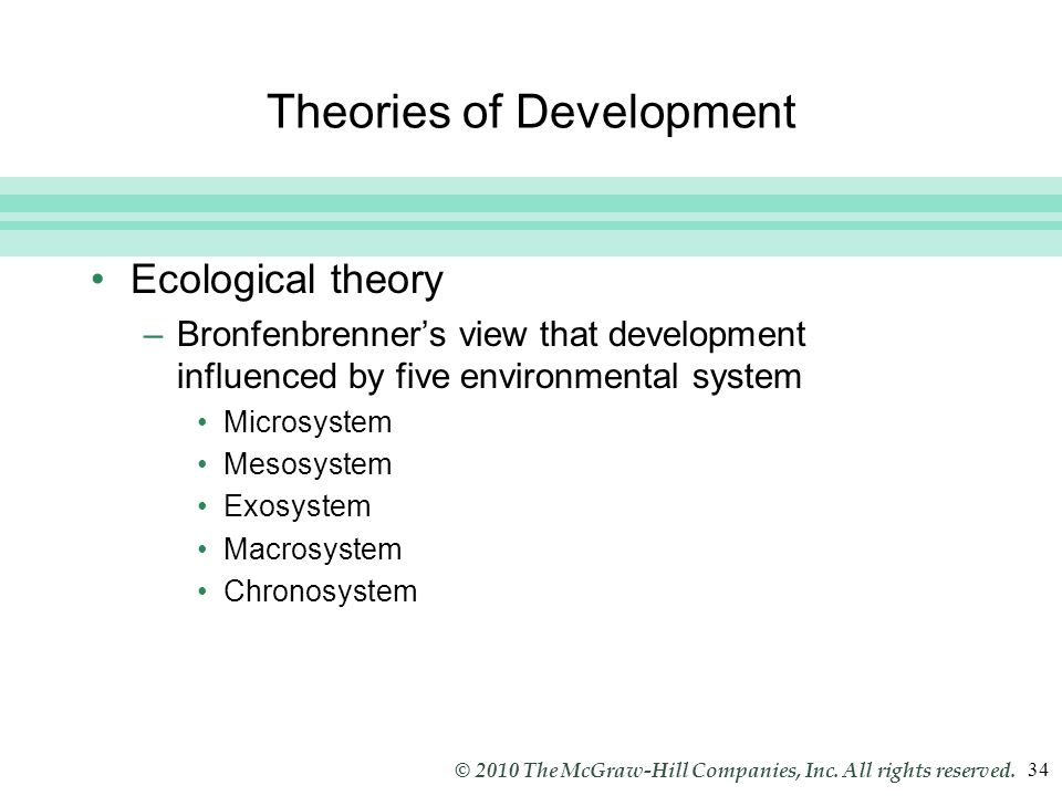 Slide 34 © 2010 The McGraw-Hill Companies, Inc. All rights reserved. 34 Theories of Development Ecological theory –Bronfenbrenner's view that developm
