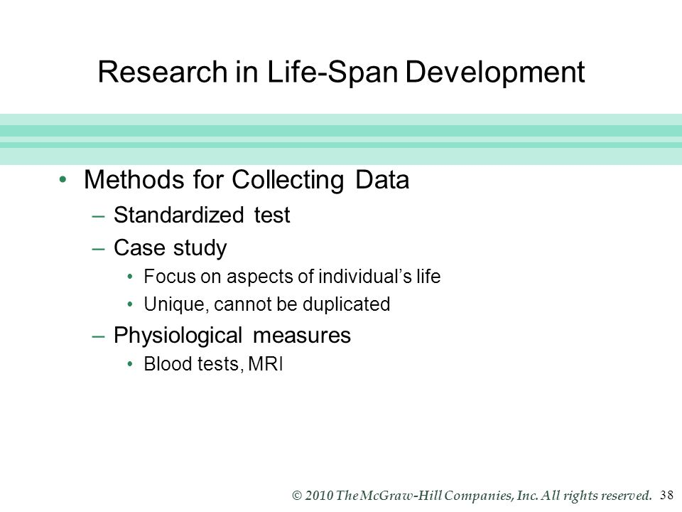 Slide 38 © 2010 The McGraw-Hill Companies, Inc. All rights reserved. 38 Research in Life-Span Development Methods for Collecting Data –Standardized te