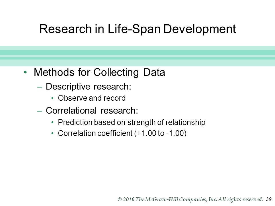 Slide 39 © 2010 The McGraw-Hill Companies, Inc. All rights reserved. 39 Research in Life-Span Development Methods for Collecting Data –Descriptive res