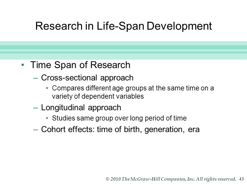 Slide 43 © 2010 The McGraw-Hill Companies, Inc. All rights reserved. 43 Research in Life-Span Development Time Span of Research –Cross-sectional appro